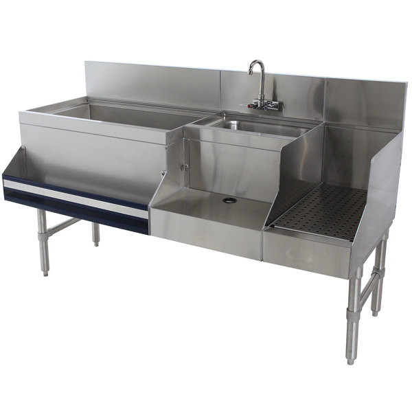 """Advance Tabco PRU-19-60L-10 Prestige Series Stainless Steel Uni-Serv Speed Bar with 10-Circuit Cold Plate - 60"""" x 25"""" (Left Side Ice Bin) Main Image 1"""