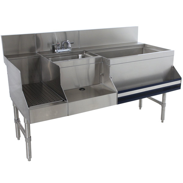 "Advance Tabco PRU-24-60R-10 Prestige Series Stainless Steel Uni-Serv Speed Bar with 10-Circuit Cold Plate - 60"" x 30"" (Right Side Ice Bin)"