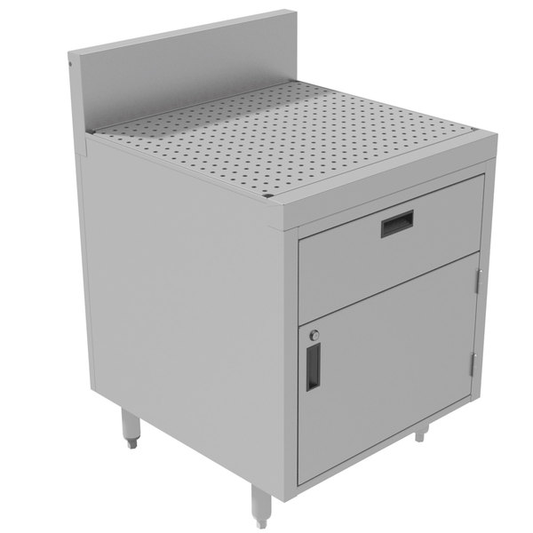 """Advance Tabco PR-30-DWR Prestige Series Enclosed Stainless Steel Cabinet with Drainboard and 1 Drawer - 24"""" x 30"""" Main Image 1"""