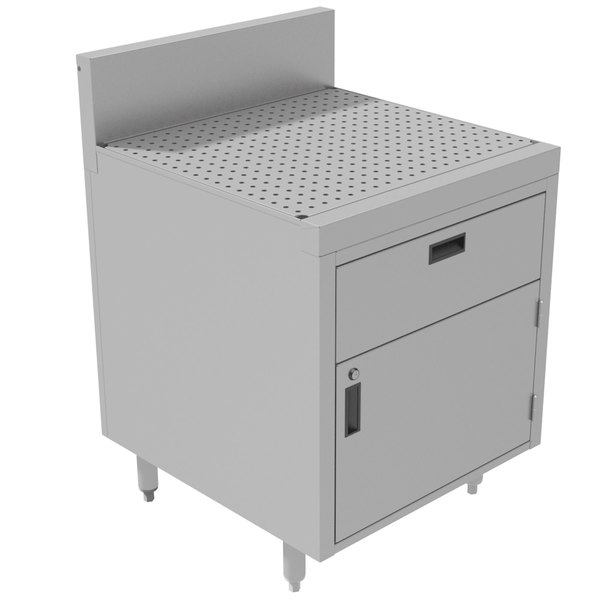 "Advance Tabco PR-25-DWR Prestige Series Enclosed Stainless Steel Cabinet with Drainboard and 1 Drawer - 24"" x 25"""
