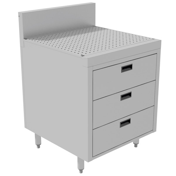 "Advance Tabco PR-25-3DWR Prestige Series Enclosed Stainless Steel Cabinet with Drainboard and 3 Drawers - 24"" x 25"" Main Image 1"