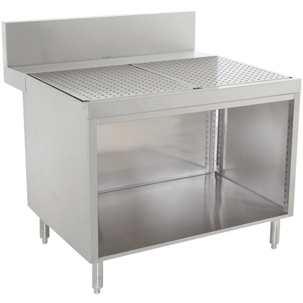 "Advance Tabco PRSCO-24-42 Prestige Series Open Base Stainless Steel Drainboard Cabinet - 42"" x 30"" Main Image 1"