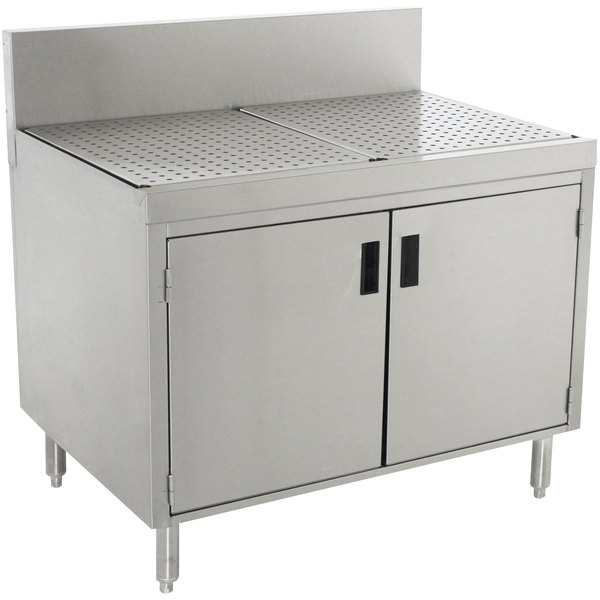 """Advance Tabco PRSCD-19-24 Prestige Series Enclosed Stainless Steel Drainboard Cabinet with Doors - 24"""" x 25"""" Main Image 1"""