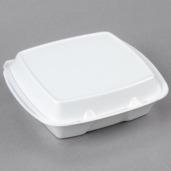 "Dart 90HTPF1R 9"" x 9"" x 3"" White Foam Square Take Out Container with Perforated Hinged Lid - 200/Case"