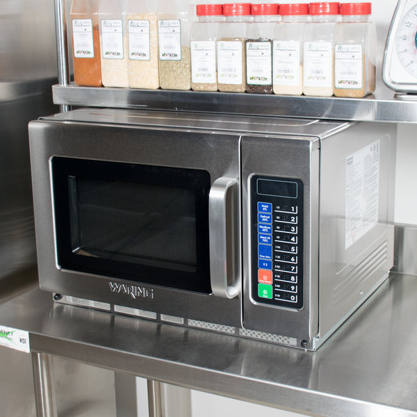 Waring WMO120 Stainless Steel Commercial Microwave with Push Button Controls - 208/230V, 1800W