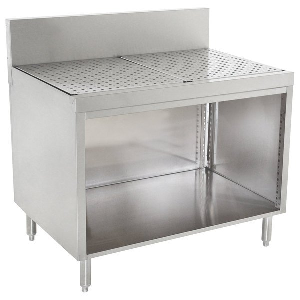 "Advance Tabco PRSCO-19-12 Prestige Series Open Base Stainless Steel Drainboard Cabinet - 12"" x 25"" Main Image 1"