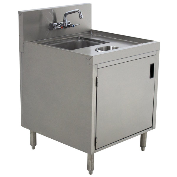 """Advance Tabco PRWC-19-18-DR Prestige Series Stainless Steel Sink Cabinet with Door and Waste Chute - 18"""" x 25"""" Main Image 1"""