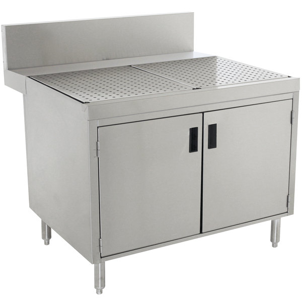 """Advance Tabco PRSCD-24-48 Prestige Series Enclosed Stainless Steel Drainboard Cabinet with Doors - 48"""" x 30"""" Main Image 1"""