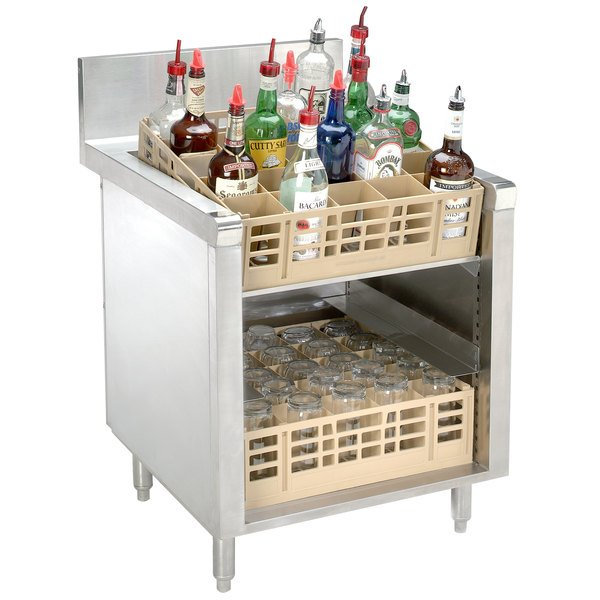 """Advance Tabco PRSR-19-24 Prestige Series 24"""" x 25"""" Stainless Steel Glass Rack Storage Cabinet with Slanted Top"""