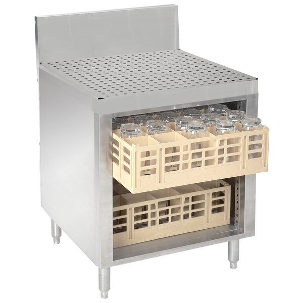 """Advance Tabco PRCR-19-24 Prestige Series 24"""" x 25"""" Stainless Steel Glass Rack Storage Cabinet with Drainboard Top"""