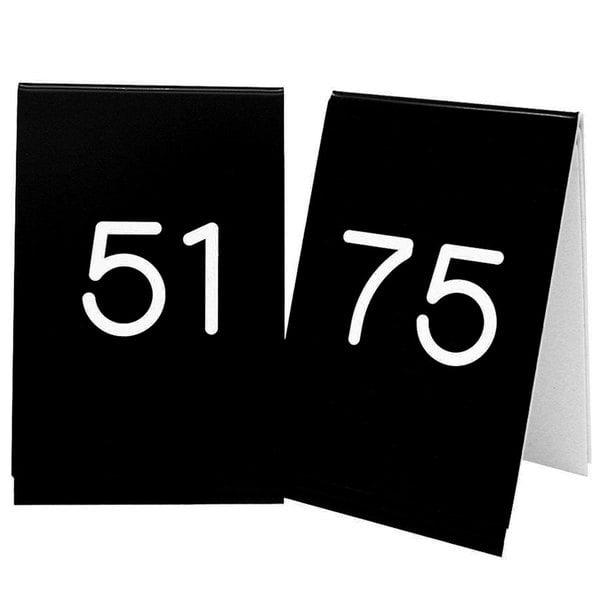 """Cal-Mil 271C-2 Black Engraved Number Tent Sign Set 51-75 - 3 1/2"""" x 5"""""""