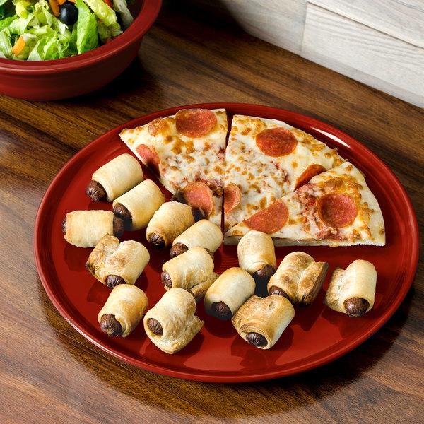 "Homer Laughlin 575326 Fiesta Scarlet 12"" China Pizza / Baking Tray - 4/Case"