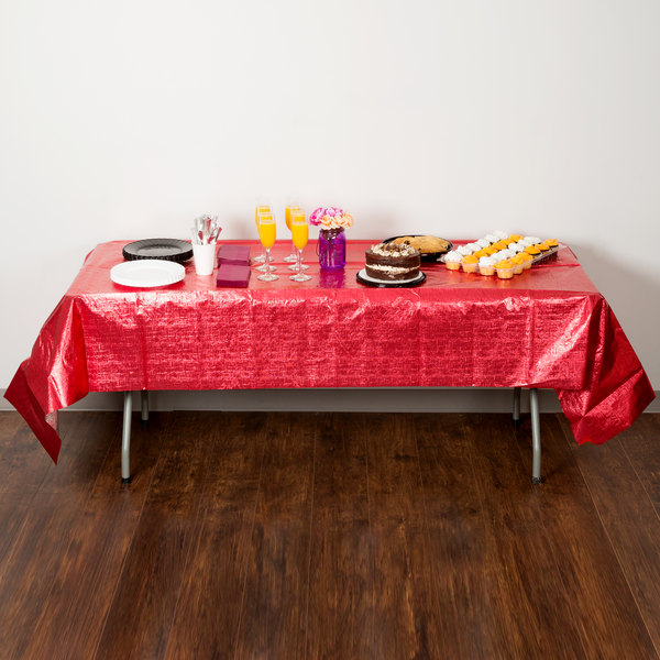 """Creative Converting 38327 54"""" x 108"""" Red Metallic Plastic Table Cover - 12/Case"""