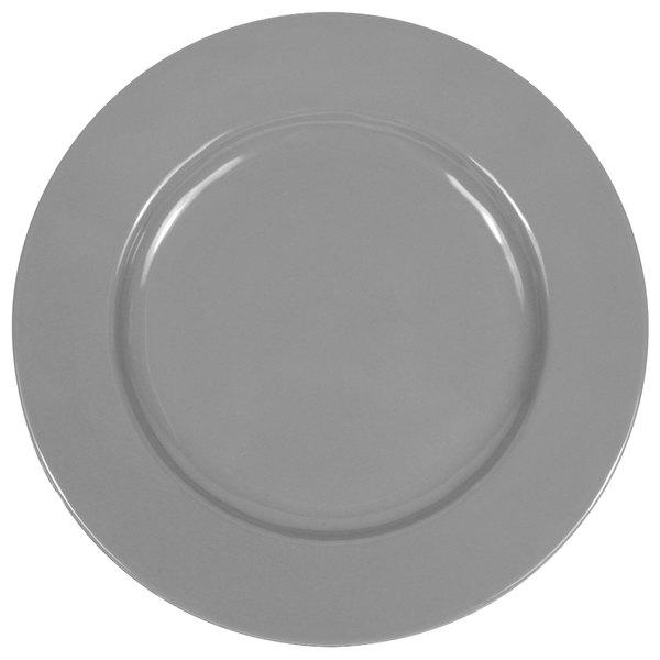 "Elite Global Solutions D1025C Cottage Vintage California 10 1/2"" Gray Round Rim Melamine Plate - 6/Case"