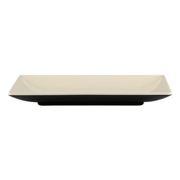 "Elite Global Solutions JW952T Karma 5"" x 9"" Ebony Sand Rectangular Two-Tone Melamine Plate - 6/Case Main Image 1"