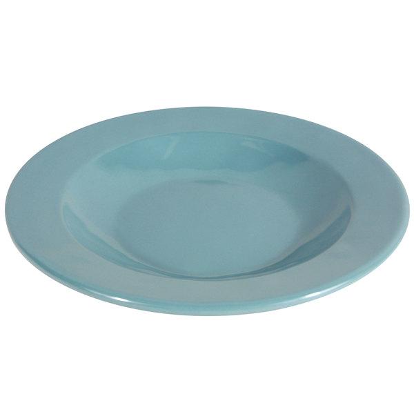 Elite Global Solutions DB878C Cottage Vintage California 12 oz. Cameo Blue Round Rim Pasta / Soup Bowl - 6/Case
