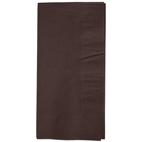 Creative Converting 673038B Chocolate Brown 2-Ply Paper Dinner Napkins - 600 / Case
