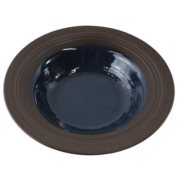Elite Global Solutions DB82GM Durango 16 oz. Lapis & Chocolate Round Two-Tone Melamine Bowl - 6/Case