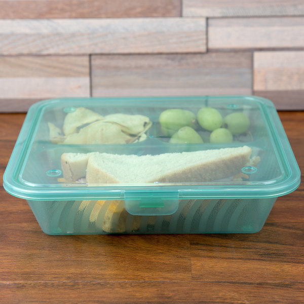 "GET EC-16 Eco-Takeouts 9"" x 9"" Jade Flat Top Customizable 3-Compartment Take Out Container - 12/Case Main Image 3"