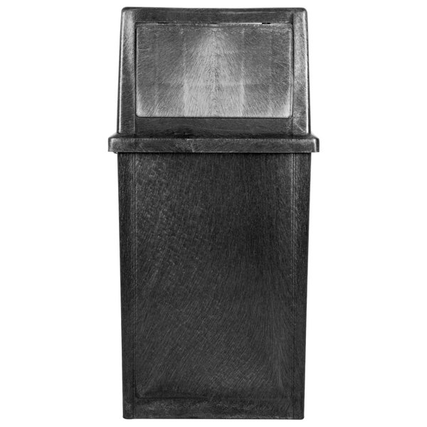 Continental 5735BK King Kan 35 Gallon Black Waste Receptacle with Hinged Lid