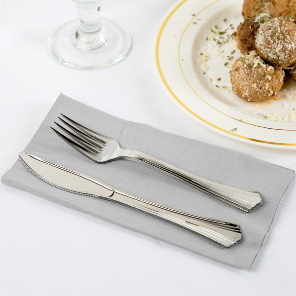 Shimmering Silver Paper Dinner Napkins, 2-Ply 1/8 Fold - Creative Converting 673281B - 600/Case Main Image 2