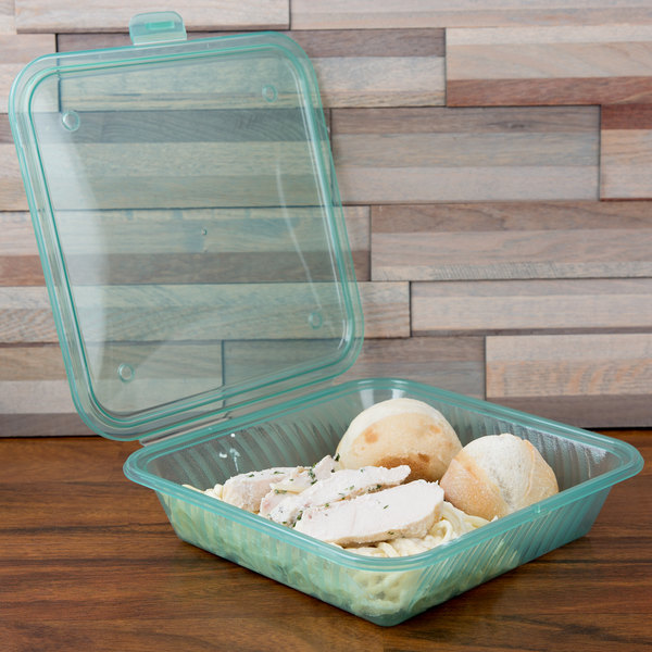 "GET EC-17 Eco-Takeouts 9"" x 9"" Jade Flat Top Customizable Single Entree Take Out Container - 12/Case"