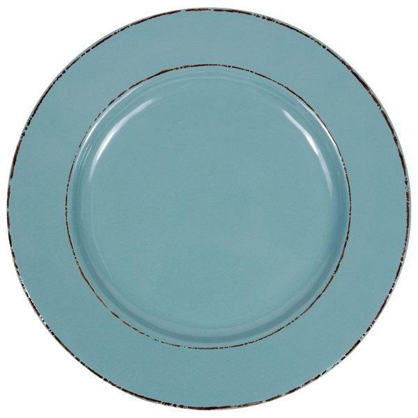 "Elite Global Solutions D850T Trestles Vintage California 8 1/2"" Cameo Blue Round Double-Line Melamine Plate - 6/Case"