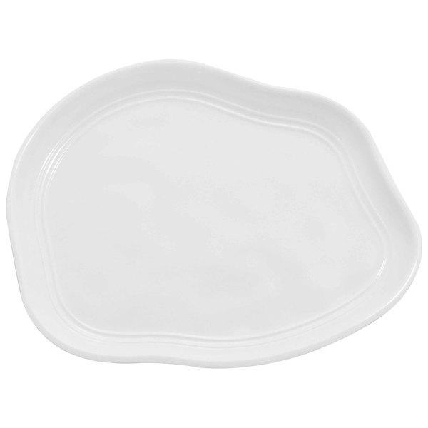 "Elite Global Solutions D973 Freeform 8 1/4"" x 9"" White Irregular Edge Melamine Plate - 6/Case Main Image 1"