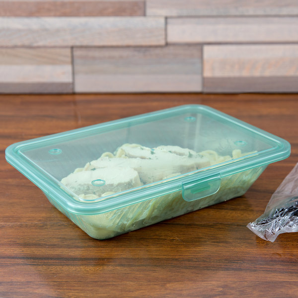 "GET EC-18 Eco-Takeouts 9"" x 6 1/2"" Jade Flat Top Customizable Take Out Container - 12/Case"