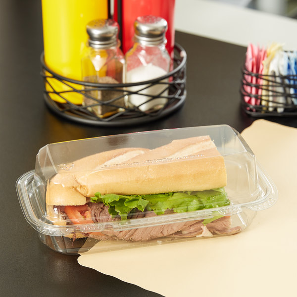 "9""x 5"" x 3"" Tamper Evident Tamper Resistant Recycled PET Hoagie Clear Takeout Lid Container - 100/Case Main Image 3"
