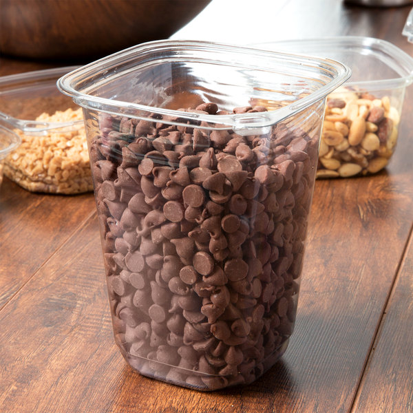 32 oz. Square Recycled PET Deli Container - 400/Case Main Image 3