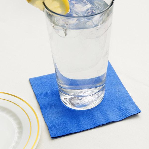 Creative Converting 573147B Cobalt Blue 3-Ply Beverage Napkin - 500/Case