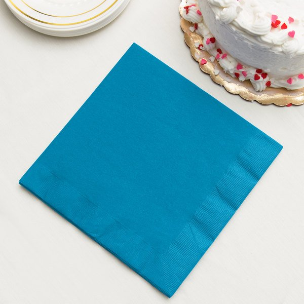 Turquoise Blue 3-Ply Dinner Napkin, Paper - Creative Converting 593131B - 250/Case Main Image 2