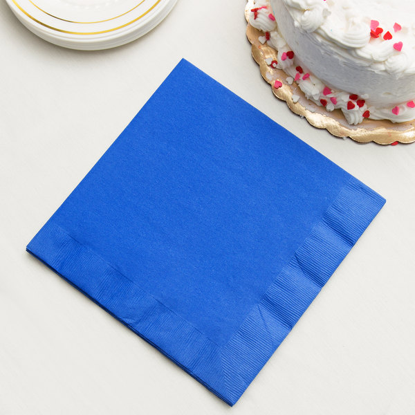 Cobalt Blue 3-Ply Dinner Napkins, Paper - Creative Converting 593147B - 250/Case Main Image 2