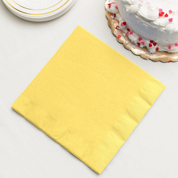 Mimosa Yellow 3-Ply Dinner Napkins, Paper - Creative Converting 59102B - 250/Case