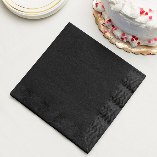 Black Velvet 3-Ply Dinner Napkin, Paper - Creative Converting 59134B - 250/Case