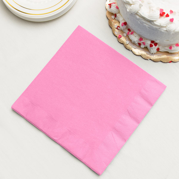 Candy Pink 3-Ply Dinner Napkins, Paper - Creative Converting 593042B - 250/Case Main Image 2