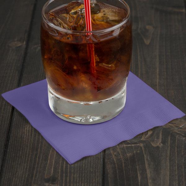 Creative Converting 57115B Purple 3-Ply Beverage Napkin - 500/Case