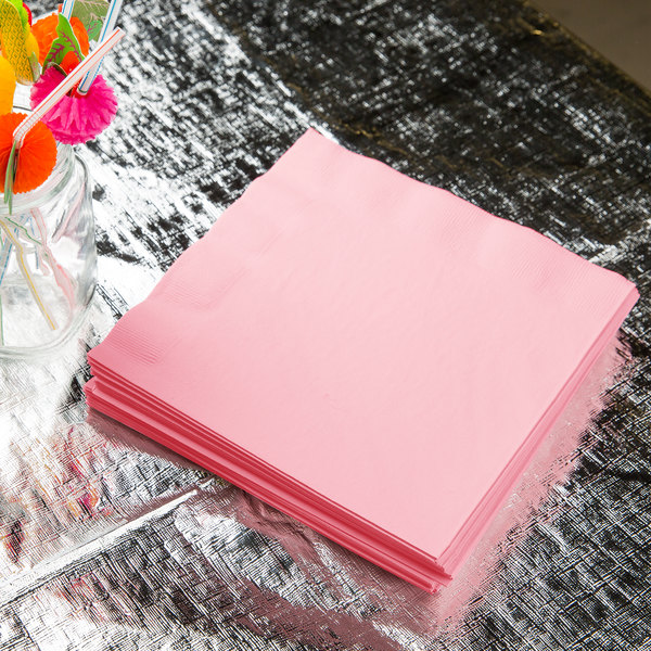 Classic Pink 3-Ply Dinner Napkin, Paper - Creative Converting 59158B - 250/Case Main Image 2