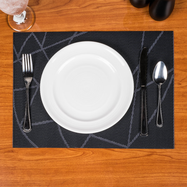"Snap Drape PMCHIDKBL Cityscape 12"" x 16"" Chico Dark Navy PVC Placemat - 12/Pack"
