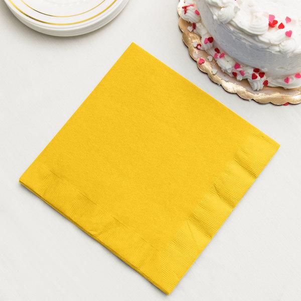 School Bus Yellow Paper Dinner Napkin, 3-Ply - Creative Converting 591021B - 250/Case Main Image 2