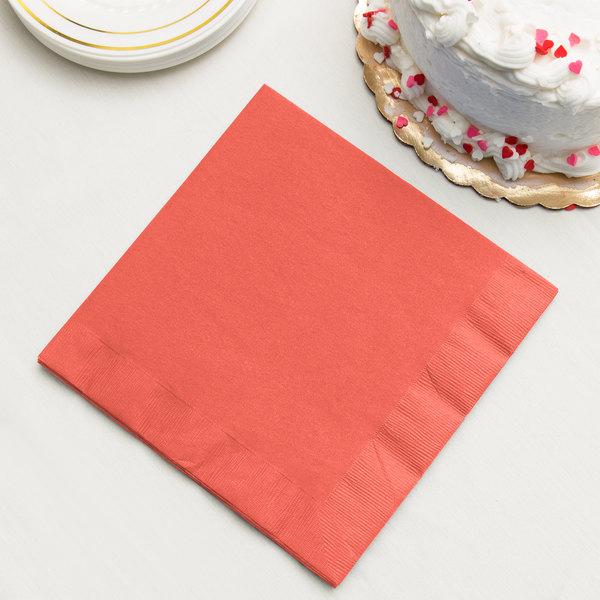 Coral Orange 3-Ply Dinner Napkin, Paper - Creative Converting 593146B - 250/Case Main Image 2
