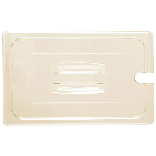 Cambro 10HPCHN150 H-Pan™ Full Size Amber High Heat Handled Flat Lid with Spoon Notch Main Image 1