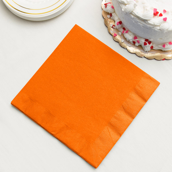 Sunkissed Orange 3-Ply Dinner Napkin, Paper - Creative Converting 59191B - 250/Case