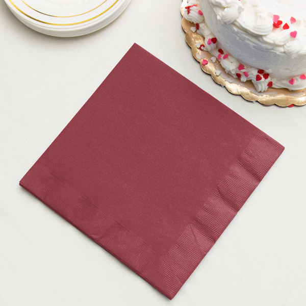Burgundy Paper Dinner Napkins, 3-Ply - Creative Converting 593122B - 250/Case Main Image 2