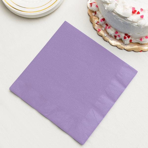 Luscious Lavender Purple Paper Dinner Napkin, 3-Ply - Creative Converting 59193B - 250/Case Main Image 2
