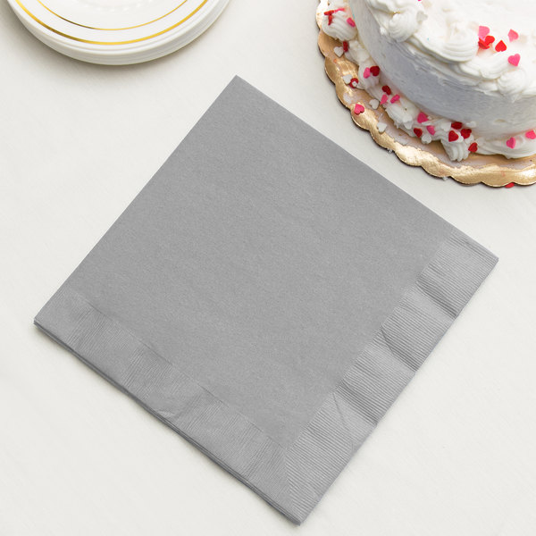 Shimmering Silver 3-Ply Dinner Napkin, Paper - Creative Converting 593281B - 250/Case Main Image 2
