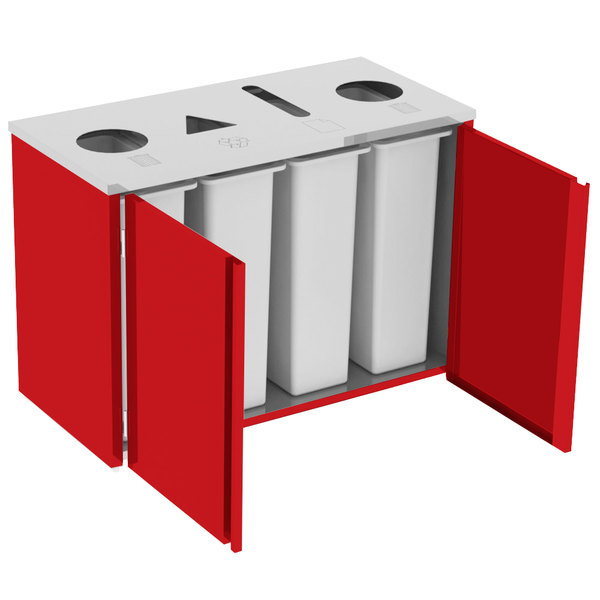 """Lakeside 3418RD Stainless Steel Refuse (2) / Recycle / Paper Station with Top Access and Red Laminate Finish - 48 1/2"""" x 23 1/4"""" x 34 1/2"""""""