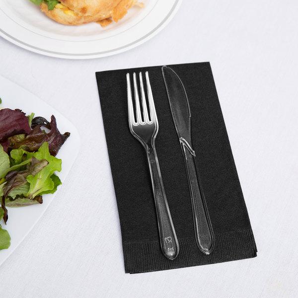 Creative Converting 95134 Black Velvet 3-Ply Guest Towel / Buffet Napkin - 192/Case