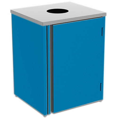 """Lakeside 3410 Stainless Steel Refuse Station with Top Access and Royal Blue Laminate Finish - 26 1/2"""" x 23 1/4"""" x 34 1/2"""""""